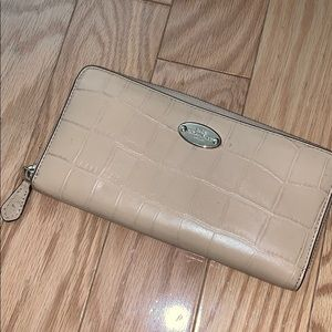 Beige Coach Zip Wallet